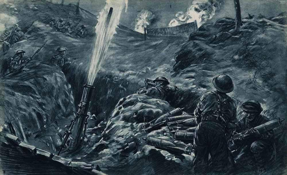 Британский минометный расчет ведет огонь по врагам