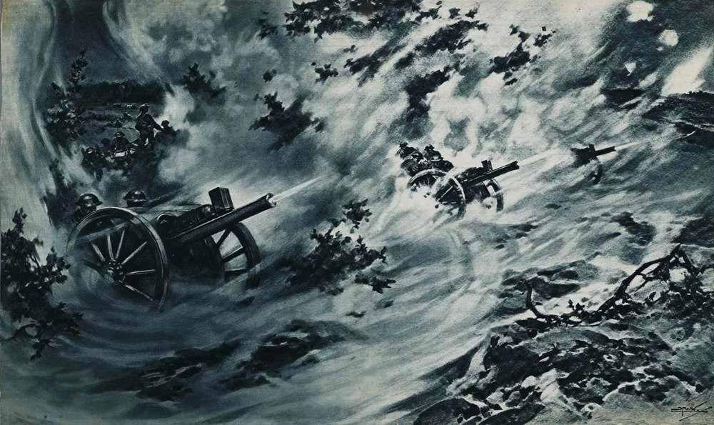 Британская артиллерия ведет залповый огонь по германским позициям