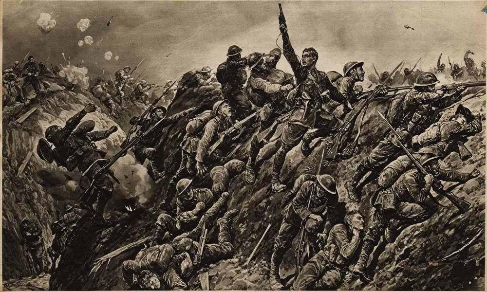 Британские солдаты поднимаются в контратаку против наступающих немцев