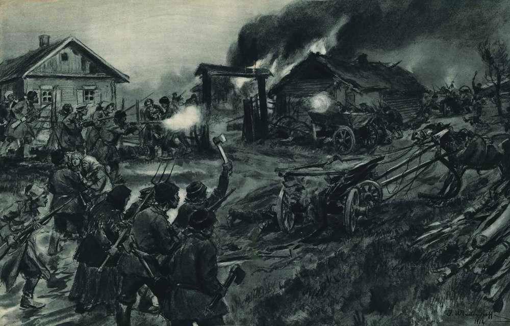 Деревенские жители и демобилизованные солдаты вступают в сражение с продотрядом, который явился к ним в целях конфискации продовольственных излишков
