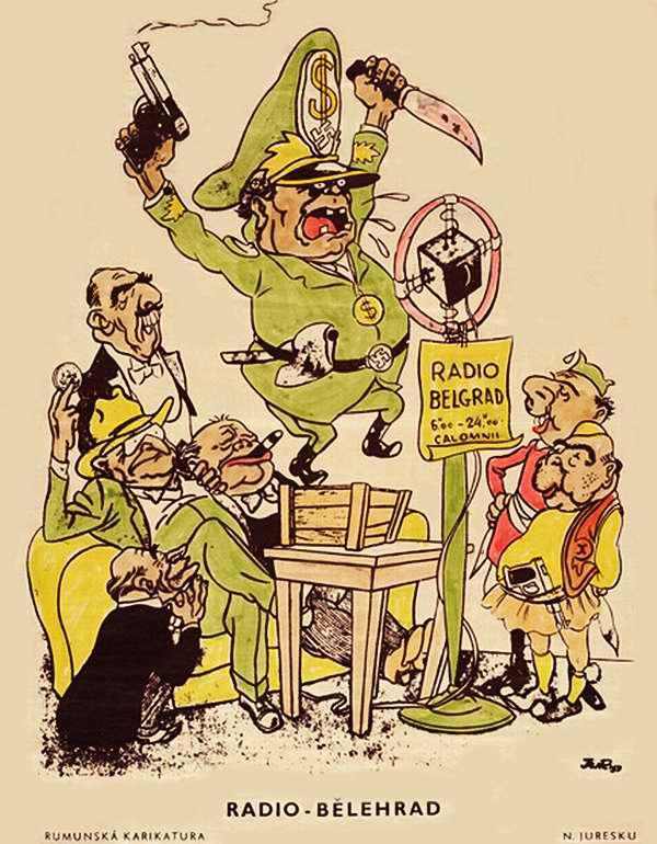 Радио Белграда (румынская карикатура тех лет)