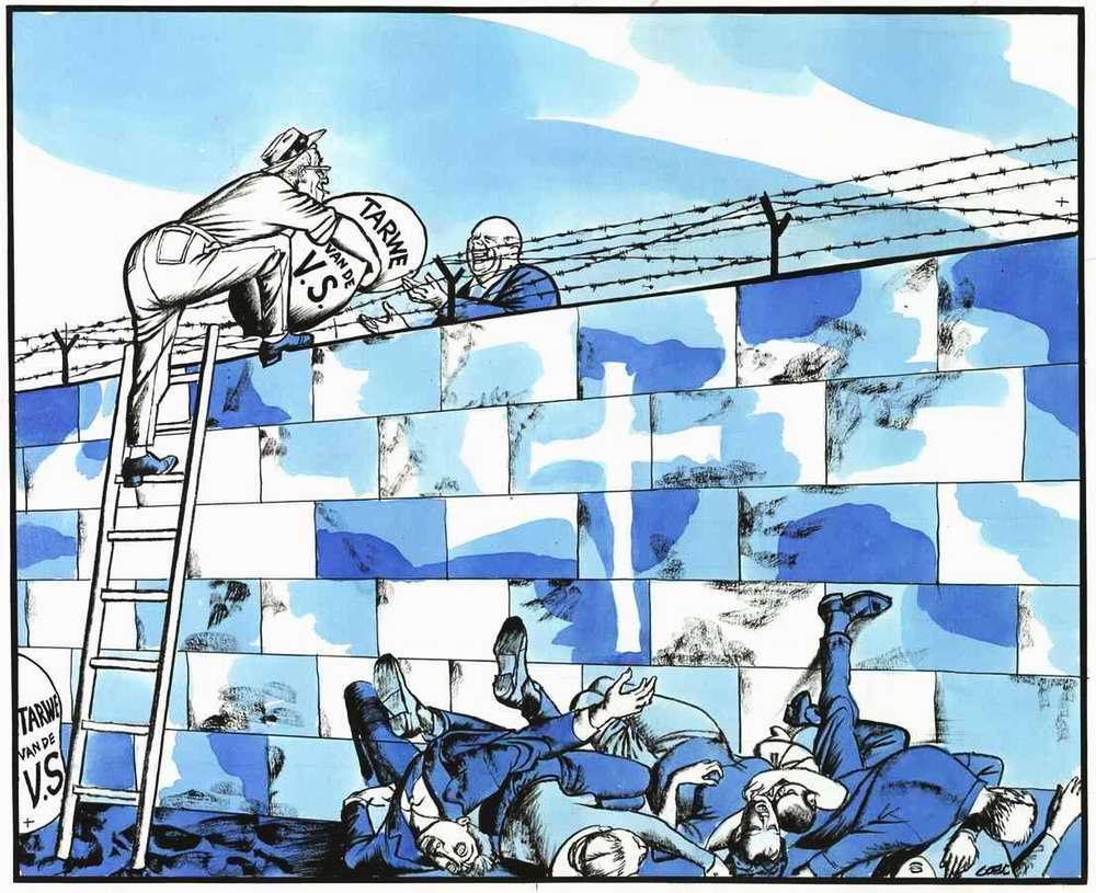Мирное сотрудничество через Берлинскую стену (в виде согласия США организовать в СССР срочные поставки зерна, не смотря на откровенно недружественный факт разделения Берлина на Восточный и Западный)