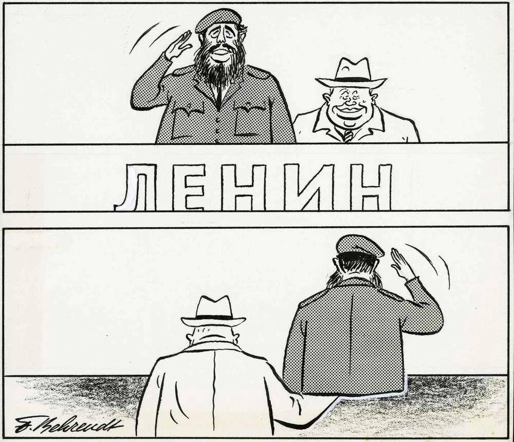 Хрущев и Фидель Кастро: вид спереди и вид сзади (1963 год)