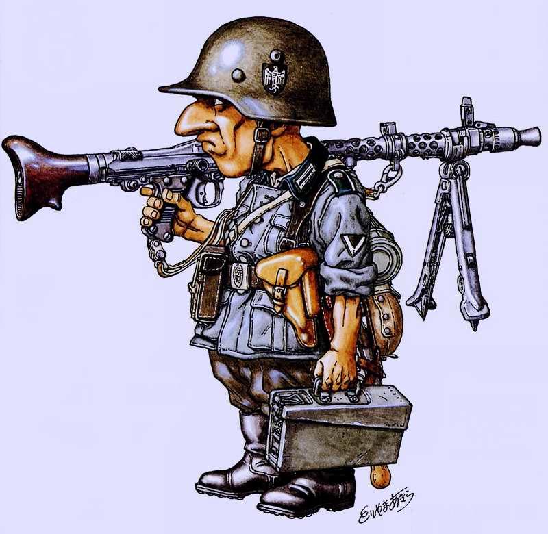 2-я мировая война. Германия. Пехотинец германской армии Meyer с пулеметом MG-34