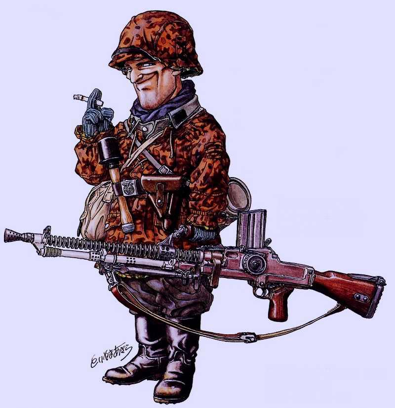 2-я мировая война. Германия. Солдат войск СС с ручным пулеметом ZB-26