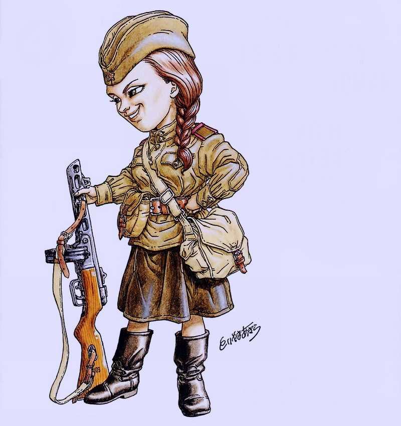 2-я мировая война. Советский Союз. Девушка-пехотинец с пистолетом-пулеметом ППШ