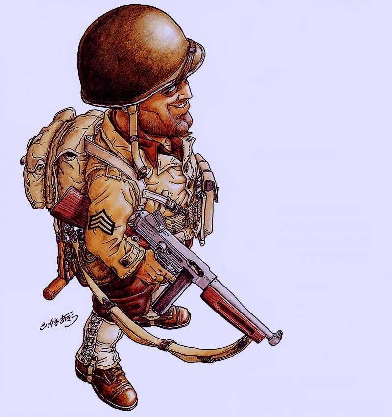2-я мировая война. США. Пехотинец с автоматом Thompson M1A1