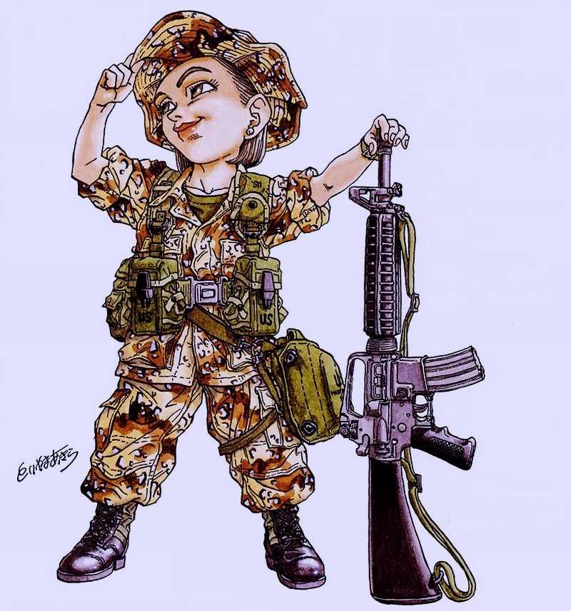 Война в Персидском заливе (1991 год). США. Девушка-пехотинец Sandy со штурмовой винтовкой Colt M16A2