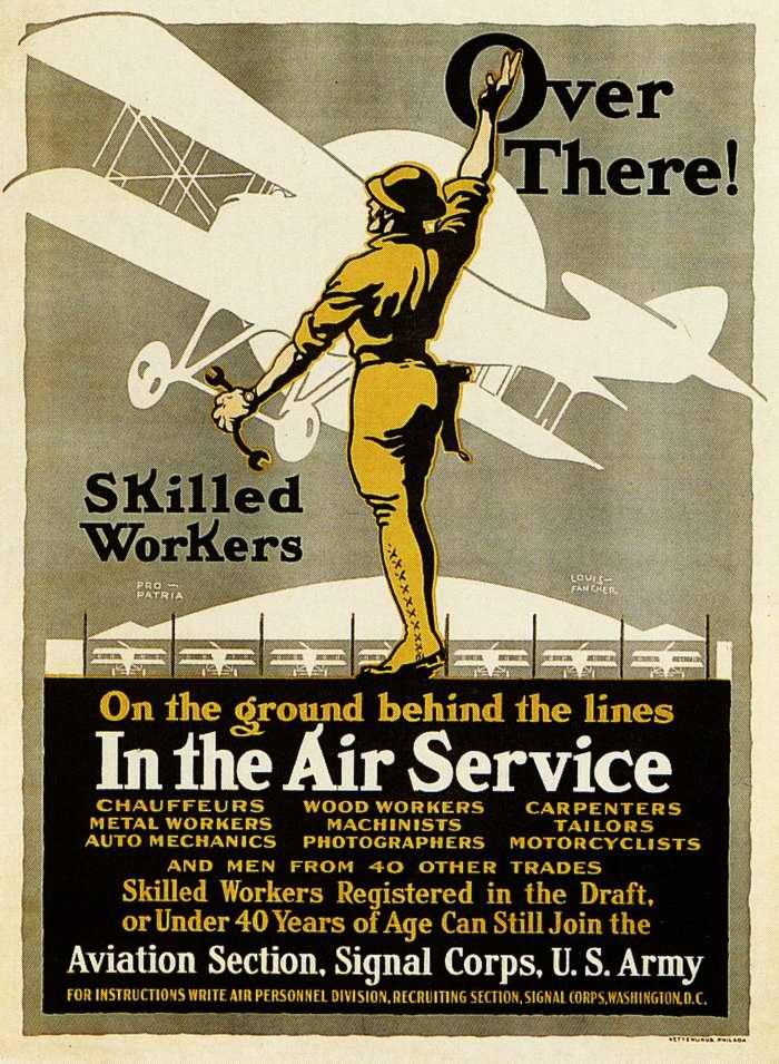 Требуются квалифицированные рабочие для наземного обслуживания и ремонта аэропланов армии США