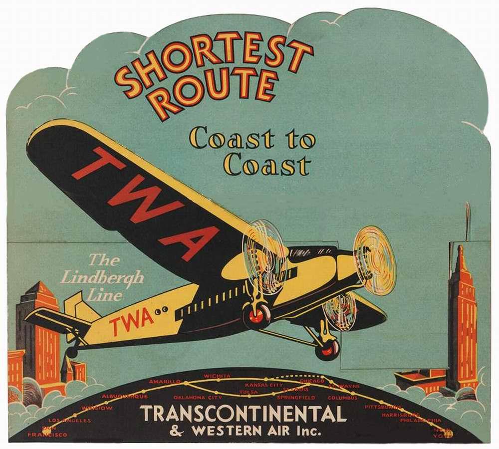 Авиакомпания Transcontinental & Western Air. По кратчайшему пути от побережья к побережью - от Нью-Йорка до Сан-Франциско