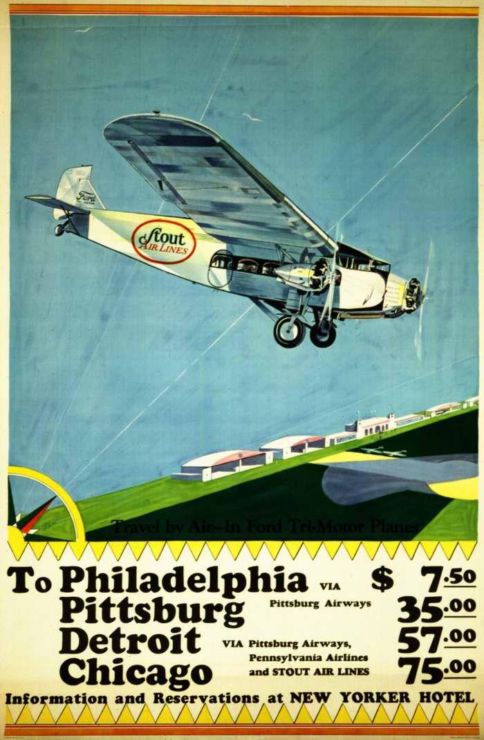 Авиакомпания Stout Airlines. Полеты из Нью-Йорка в Филадельфию, Питтсбург, Детройт и Чикаго