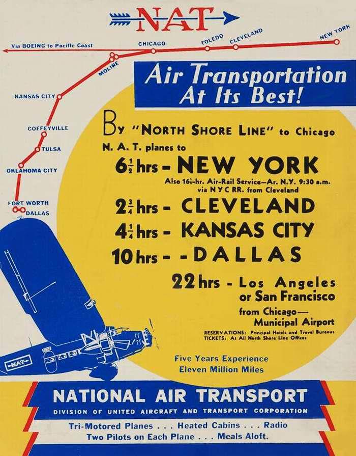 Авиакомпания National Air Transport. Полеты из Чикаго в Нью-Йорк, Кливленд, Канзас-Сити, Даллас, Лос-Анджелес и Сан-Франциско