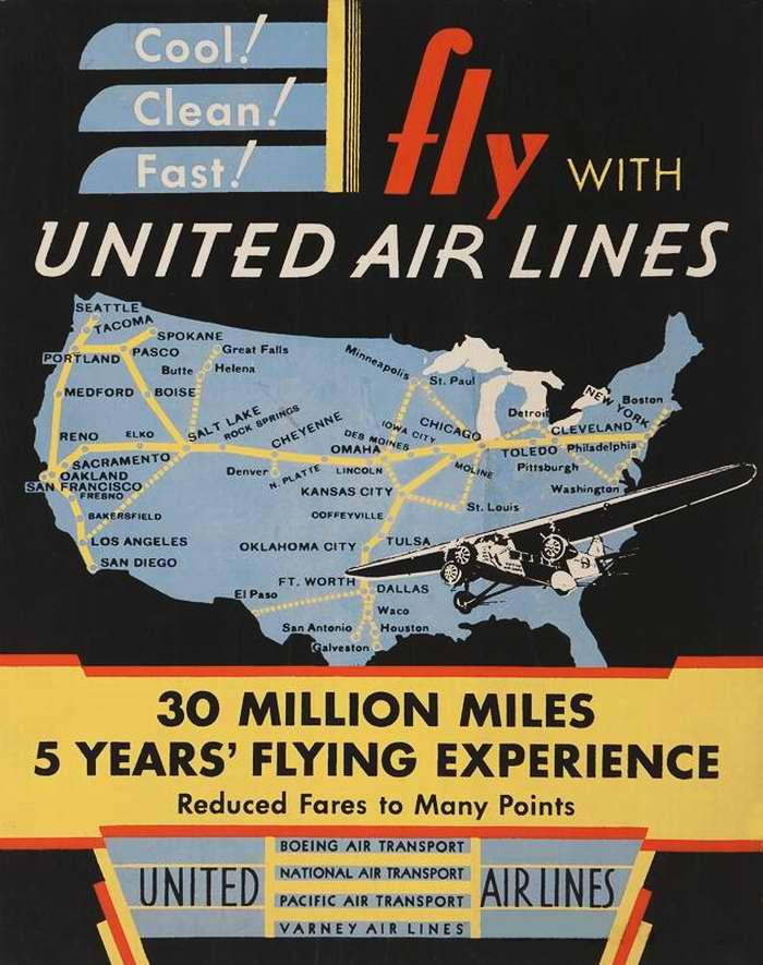 Приятно! Чисто! Быстро! Летайте с авиакомпанией United Air Lines - 30 миллионов миль за 5 лет летного обслуживания пассажиров