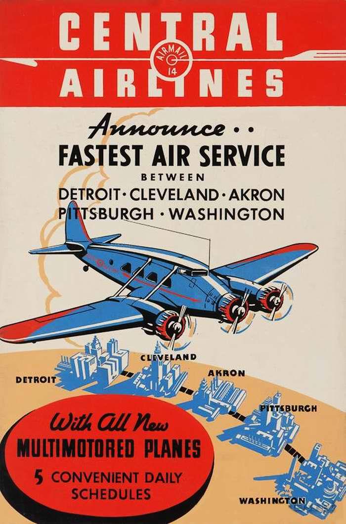 Авиакомпания Central Airlines. Быстрые перелеты между городами Дейтроит, Кливленд, Акрон, Питсбург и Вашингтон на новых трехмоторных самолетах