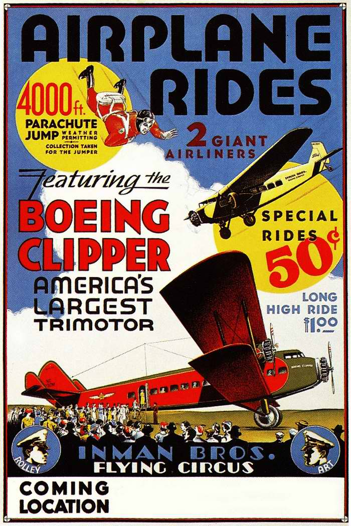Воздушный цирк и пробные полеты на пассажирских самолетах по цене 50 центов