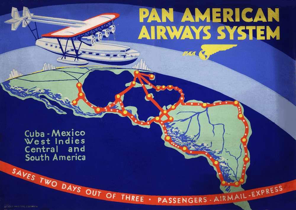 Маршруты авиакомпании Pan American - Куба, Мексика, Вест-Индия, Центральная и Южная Америка (1931 год)