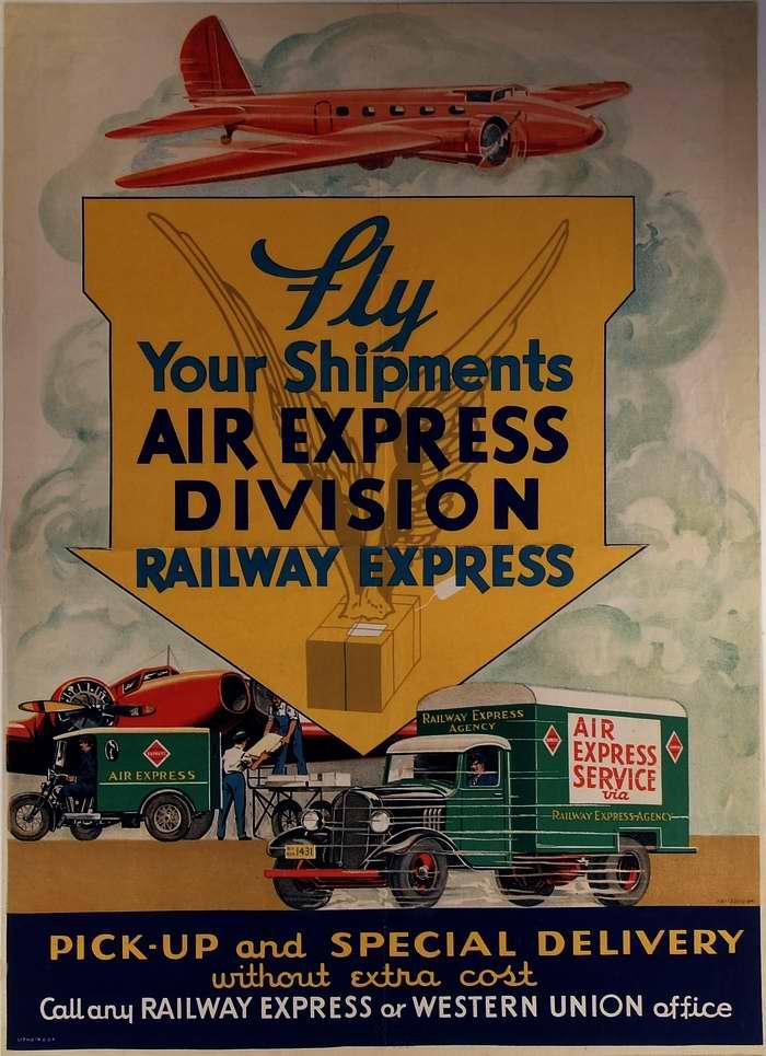 Осуществляйте отправку ваших грузов экспресс авиапочтой (1933 год)