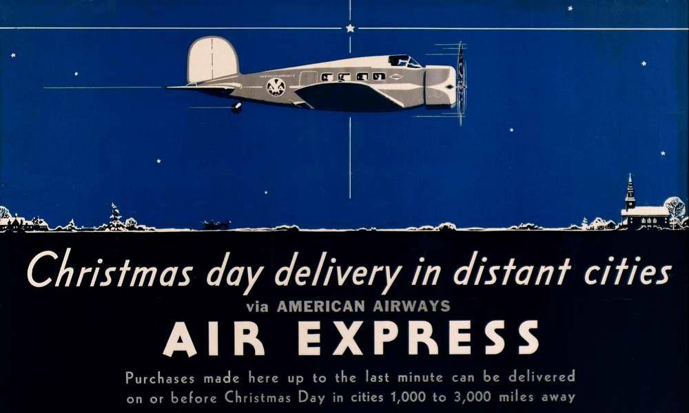 Авиакомпания American Airways - предрождественская экспресс-доставка в отдаленные города (1933 год)