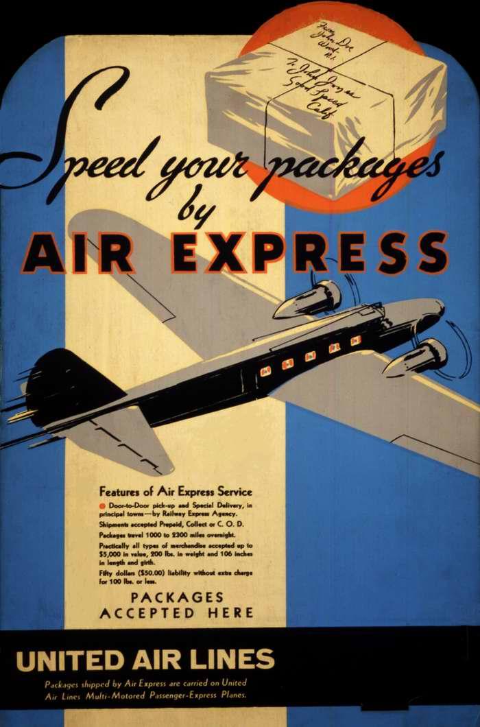 Авиакомпания United Air Lines - отправляйте ваши грузы экспресс авиапочтой (1933 год)