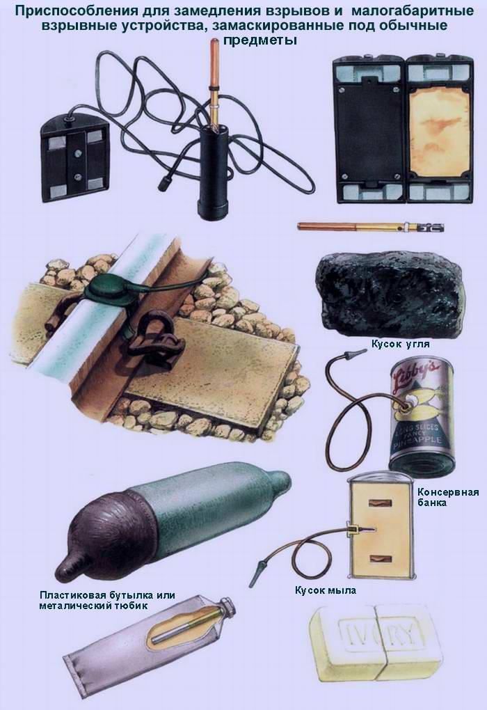 Приспособления для замедления взрывов и взрывные устройства, замаскированные под обычные предметы