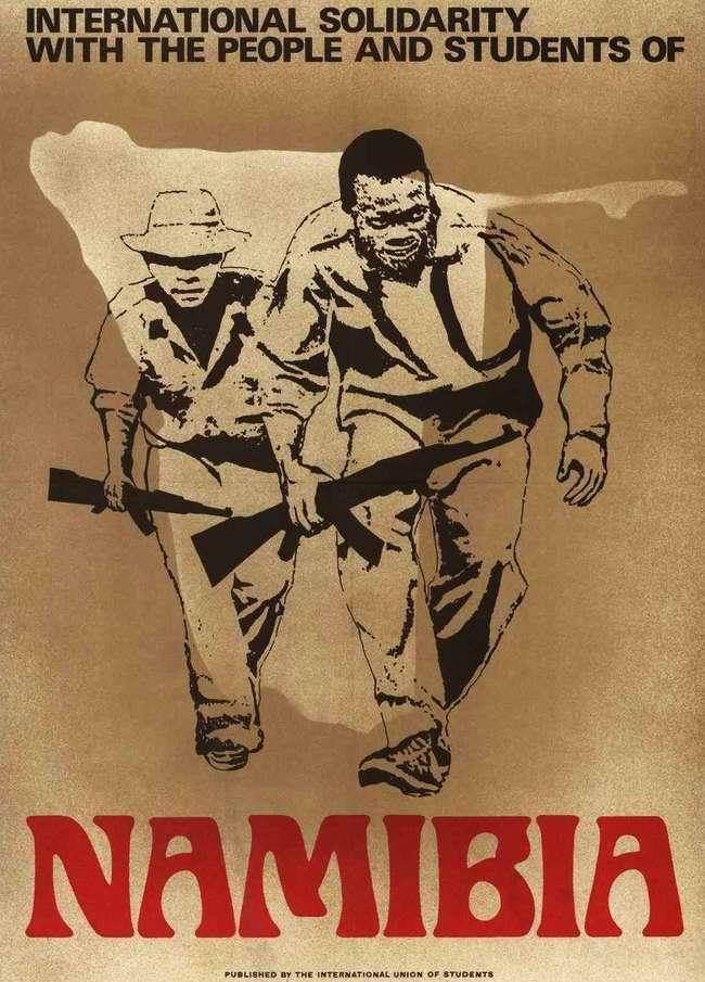 Международная солидарность с борьбой народа и студентов Намибии (плакат Международного союза студентов Намибии)