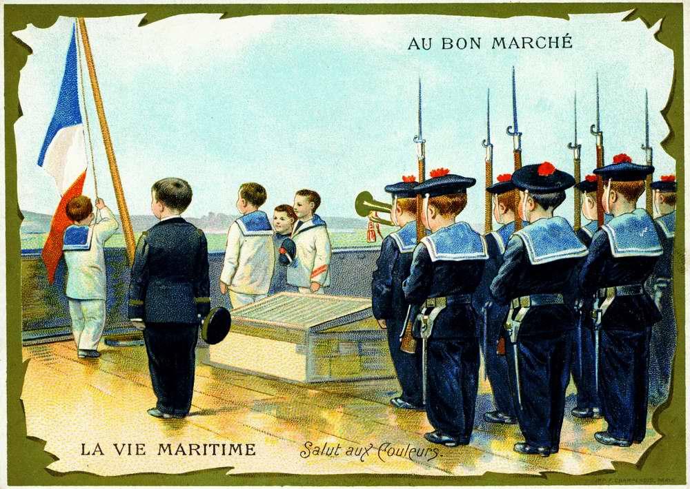 Торжественный подъем флага на корабле