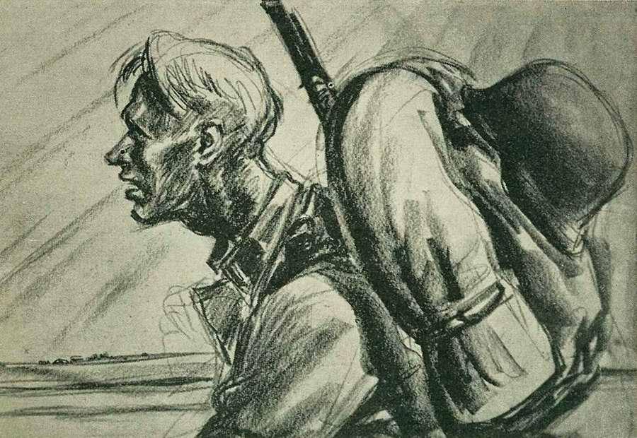 Солдат норвежского легиона СС на марше