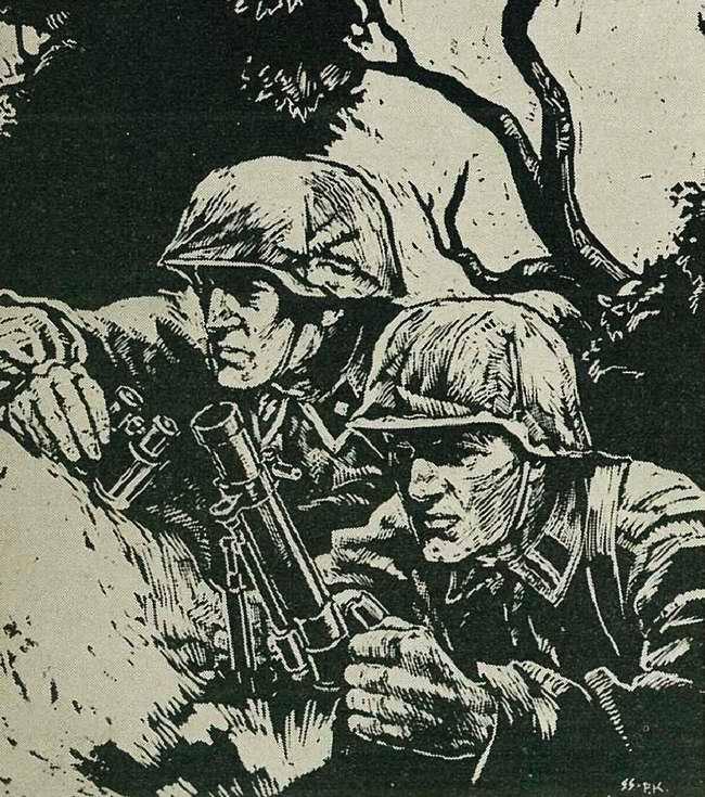 В момент рывка подкравшихся разведчиков по вражеским позициям открывается рассеянный огонь из небольшого миномета