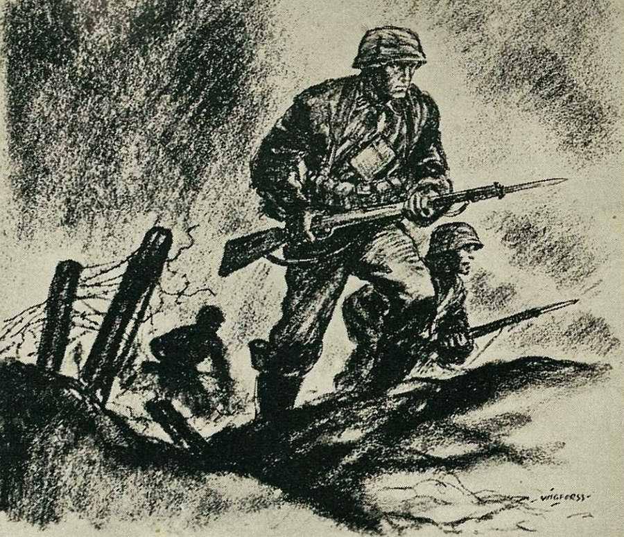 Пехота идет в атаку. Впереди вражеские позиции