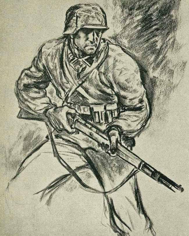 Один эсэсовец с винтовкой наготове занимает позицию сбоку перед входом в большевистское укрепление