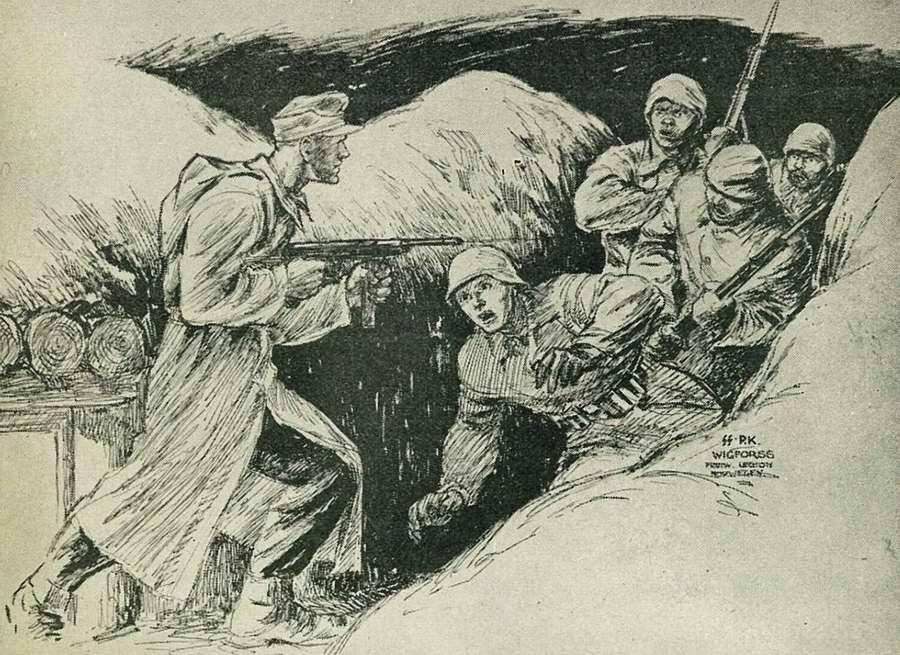 Группа большевиков застигнута врасплох. Эсэсовец с автоматом в руках вызывает у них состояние полной растерянности