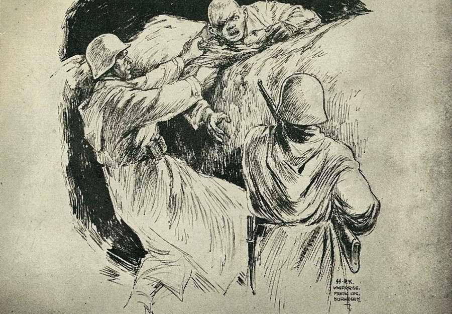 Взятие в  плен большевистского солдата