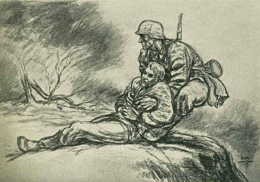 Смертельно рискуя своей собственной жизнью, солдат быстро оттаскивает раненого товарища в сторону