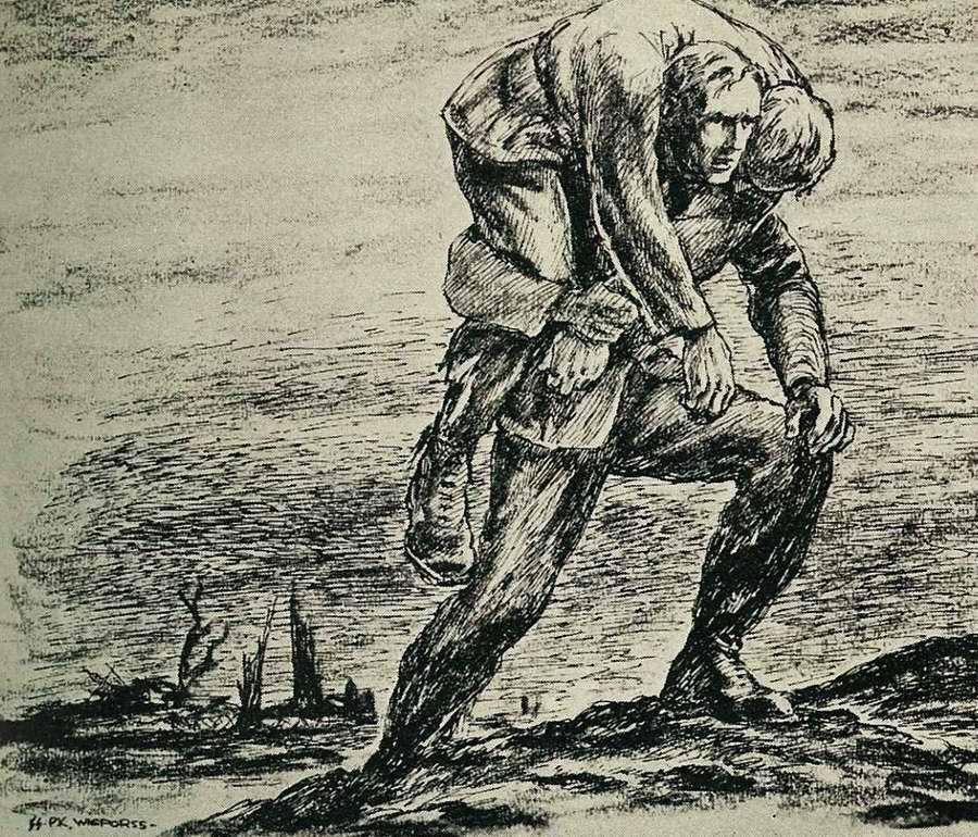 Солдат переносит раненого товарища в безопасное место