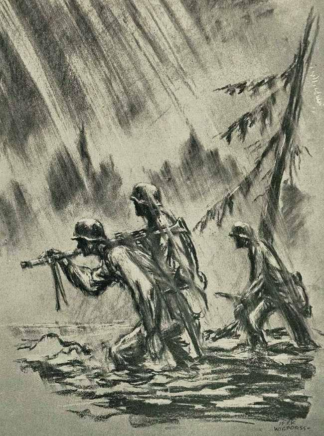Потоки воды и грязи, которые доходят до колена, заставляют наших солдат не останавливаясь идти вперед