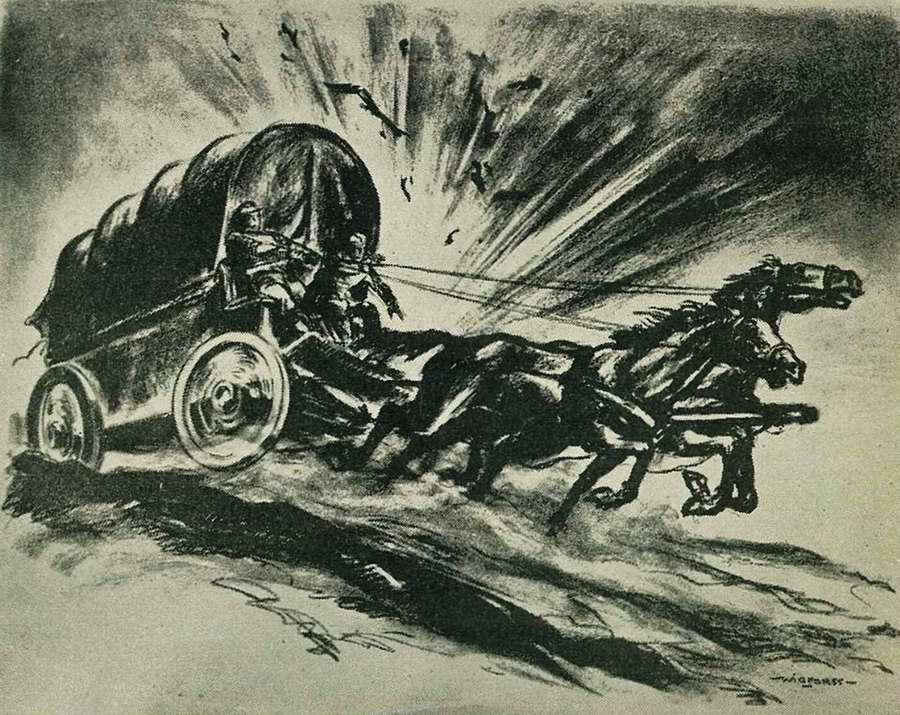 Драматический эпизод во время осуществления доставки военного груза к линии фронта