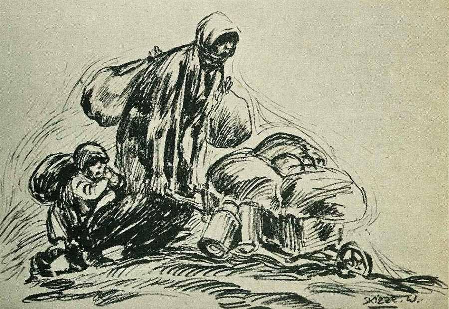 Мать и дети со своим скудным скарбом бегут из разрушенных войной родных мест