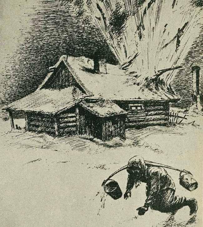 Иваны бомбят. Прямым попаданием авиабомбы разрушен дом