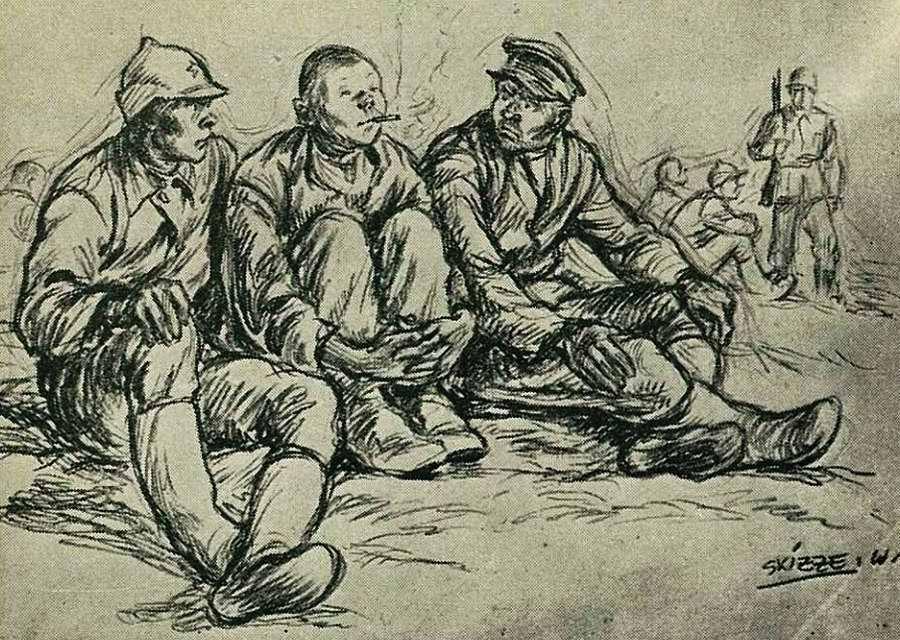 Советские военнопленные курят