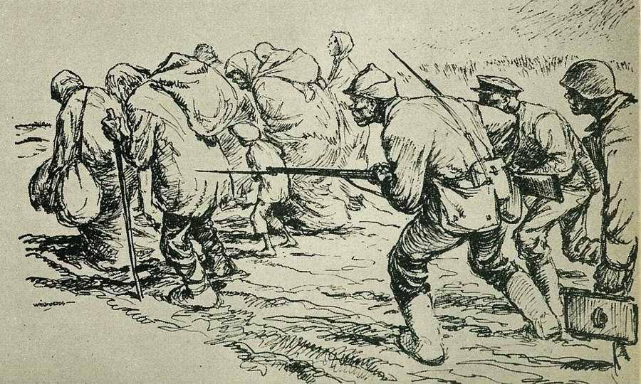 Большевики атакуют, гоня перед собой стариков, женщин и детей в целях их использования в качестве живого щита