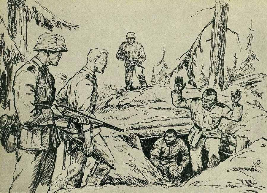 Штурм подземного бункера. Солдаты в немецкой форме встречают уцелевших большевистских бандитов, выходящих оттуда с поднятыми руками
