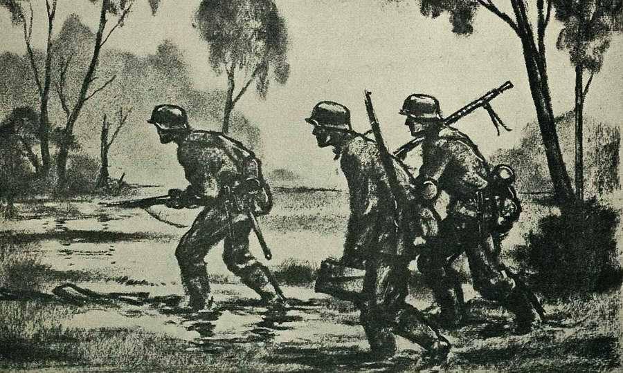 Эсэсовцы идут прямиком через болото