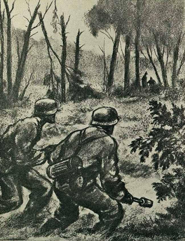 Перед дозорной группой СС - небольшие проблески света и смутные тени посреди леса