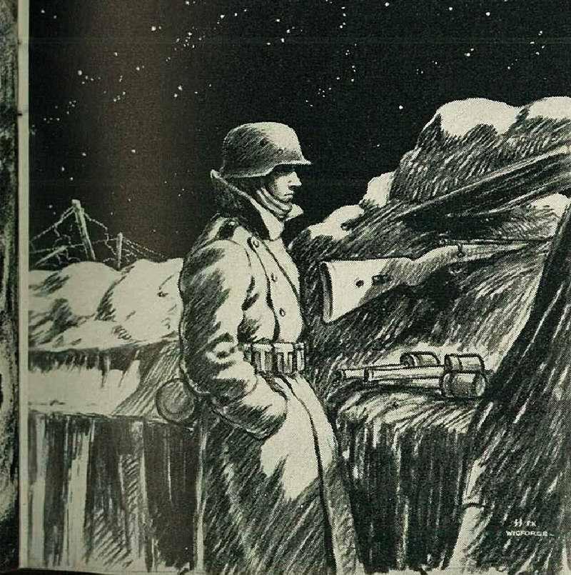 Эсэсовец в окопе на боевом дежурстве в зимнюю ночь