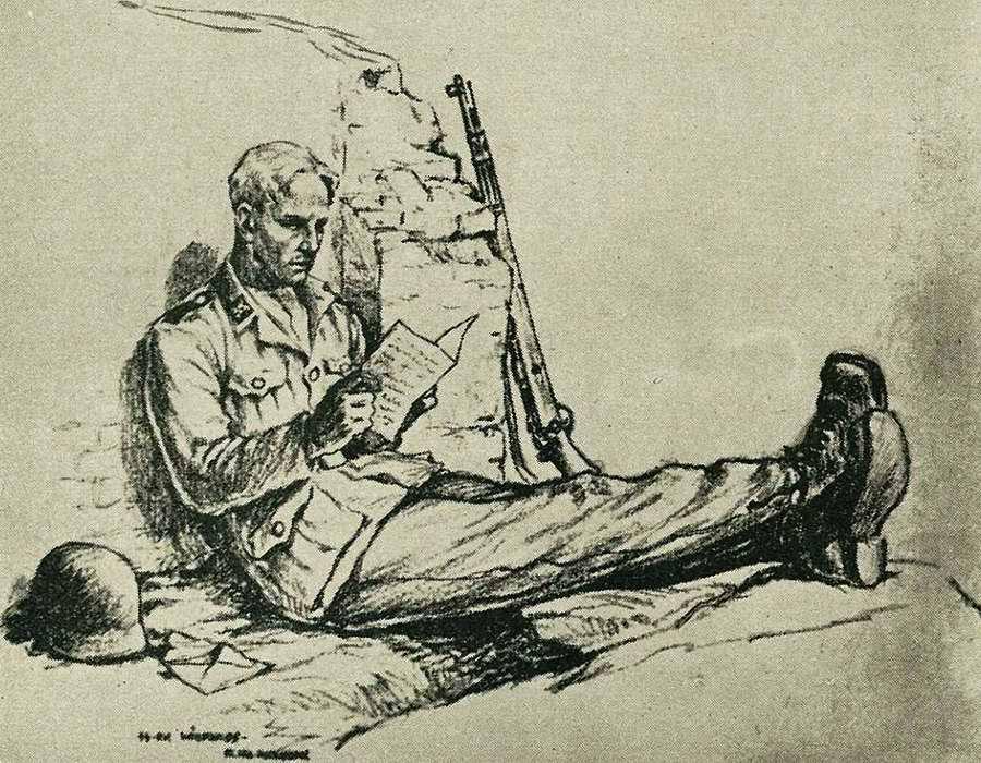 Солдат за чтением письма из родного дома