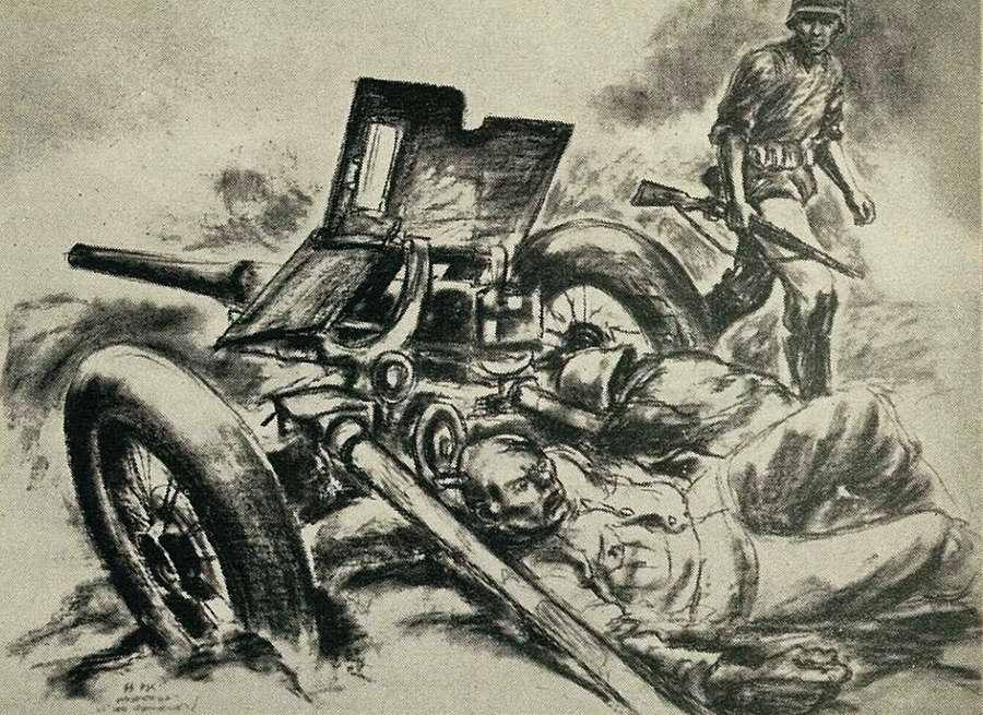 За искореженным немецким орудием лежат убитые советские солдаты. А эсэсовцы движутся дальше