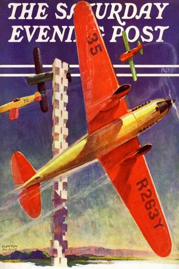 На летных соревнованиях во время авиационного праздника - обложка журнала The Saturday Evening Post