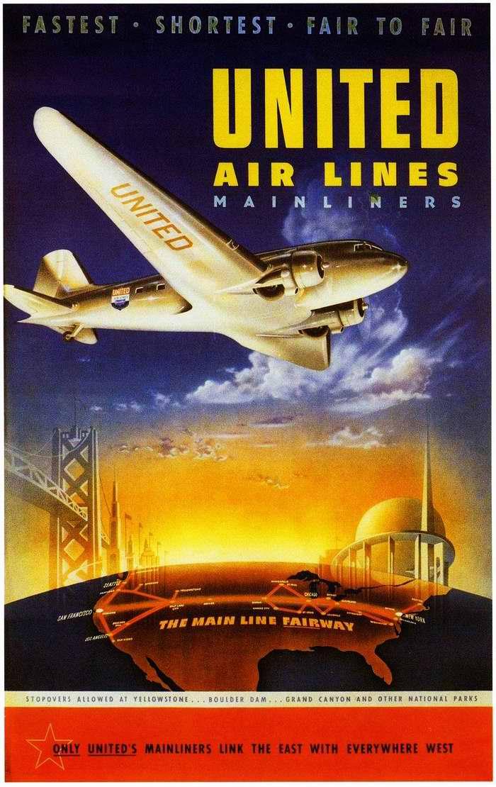 Основная линия фарватера - перелеты между Всемирной выставкой в Нью-Йорке и международной выставкой Золотые ворота в Сан-Франциско самолетами авиакомпании Pan American Airways