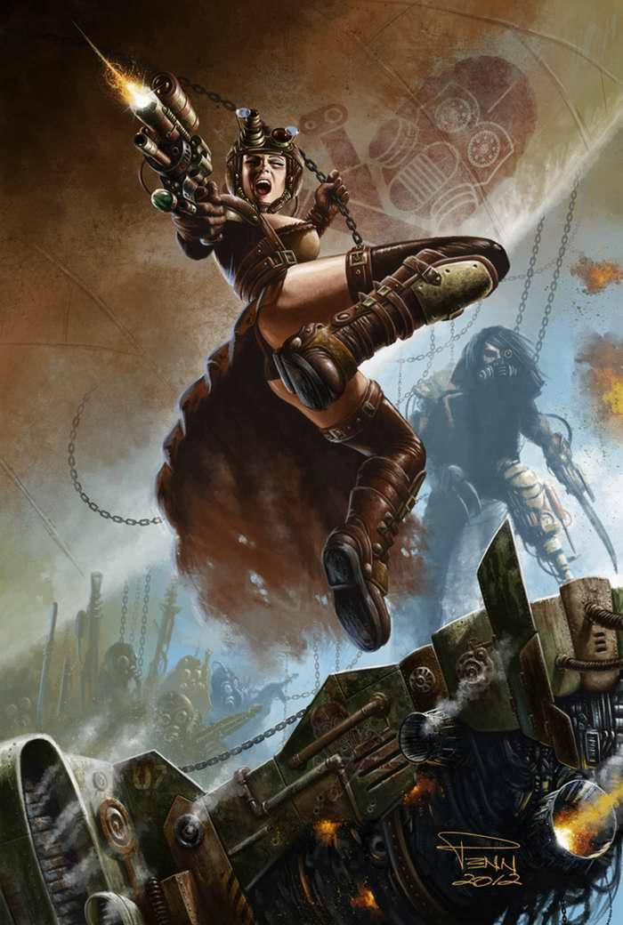 Атакующие пираты из мира стимпанка (Mike Penn)