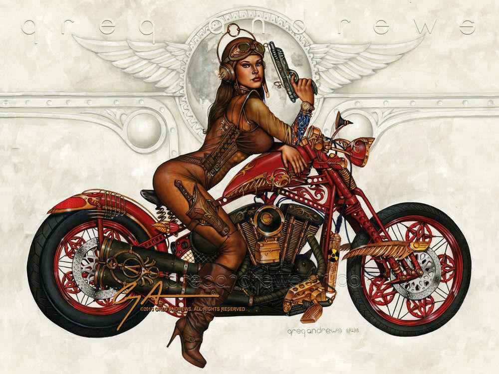 Девушка-панк на мотобайке (Greg Andrews)
